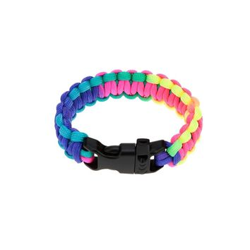 Woven Paracord Bracelet Rainbow-colored Outdoor Emergency Bracelet Quick Release Survival Bracelet with Whistle Buckle