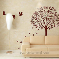 Autumn Season Flying Birds and Falling Leaves Wall Stickers – WallStickerDeal.com
