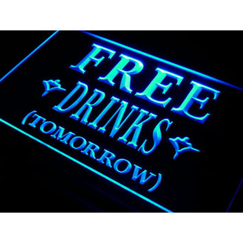 i649 FREE DRINKS TOMORROW Beer Bar LED Neon Light Sign On/Off Switch 7 Colors