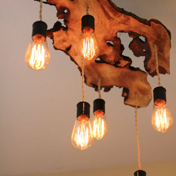 Create your own custom, Live-Edge Wood Slab Light Fixture with Hanging Edison Bulbs// Chandelier// Rustic- Earthy/ Sculptural