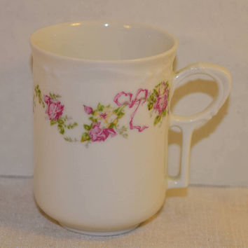 Silesia Tea Cup Vintage Pink Floral Demitasse Teacup Fine Bone China Hermann Ohme Silesia Pink Flowers Ribbons Shabby Chic Afternoon Tea