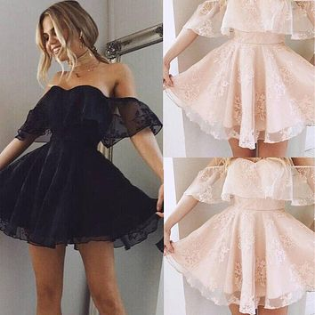 Evening Women Black Formal Laced Short Sleeve Mini Prom Party Dresses