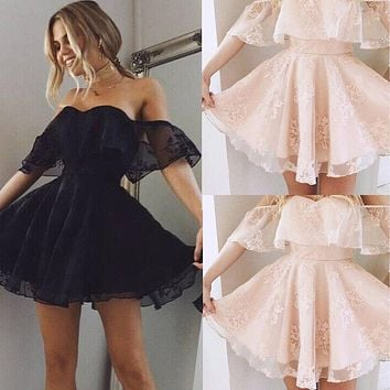 New Women Formal Lace Dress Summer Prom Off Shoulder Party Wedding Gown Short Sleeve Short Mini Dresses