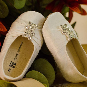 Wedding Shoes for Toddlers, Dupioni Silk Baby Flats