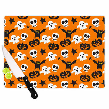 "KESS Original ""Spooktacular"" Halloween Pattern Cutting Board"