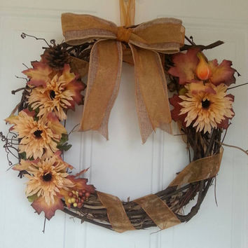 "Elegant hand crafted 16.5'"" fall wreath with sheer and burlap bow and ribbon details"