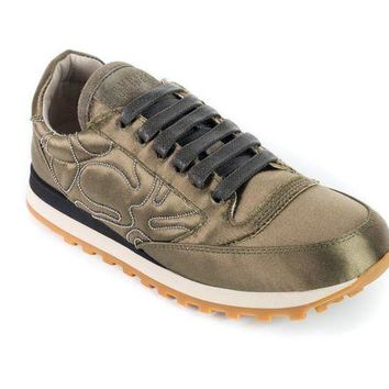 Brunello Cucinelli Women's Olive Green Monili Trim Sneakers