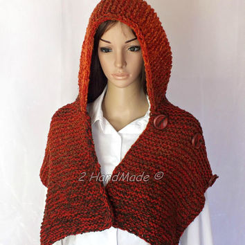 Hand Knit Hooded Boho Style Scarf Merino Wool Acrylic Jeans Fox Orange Brown Boucle Yarn Hat Hood  Chunky Hooded Cowl Winter Wood Buttons
