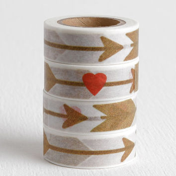 Arrow with Heart Washi Tape, Love Arrow Tape 15mm