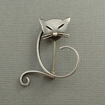 SIGNED Vintage Modernist STERLING Silver CAT Brooch Mexican Taxco Figural Pin Eagle Mark Hallmarked c.1950s