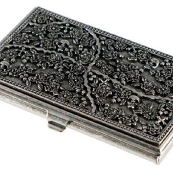Visol Products Skulls and Roses Solid Metal Women's Business Card Holder