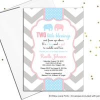 Printable twin boy and girl baby shower invitation - twin baby shower invite with elephants - pink and blue - chevron (795)