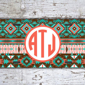 Monogrammed gift, front license plate - Aztec pattern in aqua, brown and coral - tribal car tag with monogram, aztec vanity plate (1194)