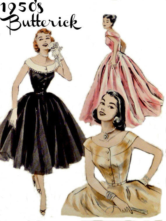 50s Evening Dress Pattern Full Circle from Vintage Needle Finds