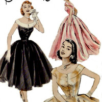 50s Evening Dress Pattern Full Circle Skirt Butterick 6988 Low Neckline Off Shoulder Two Lengths Vintage Sewing Patterns Size 14 Bust 32