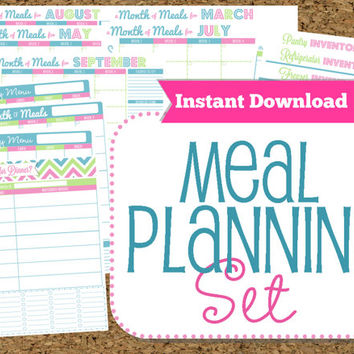 INSTANT DOWNLOAD-Menu Planner Printables- Meal Planning Organization- Home Management Binder-32 Documents
