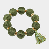 Olive Green Bon Bon Style Bracelet, Bon ball Bracelet, Thread Ball Bracelet, Thread Ball, Thread Wrapped Bracelet, Tassel Bracelet, Bon Bon