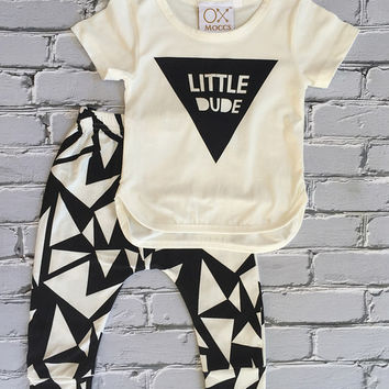 Cream 'Little Dude' Triangle Tee & Leggings - Infant, Toddler & Kids