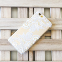 "Clear Plastic Case Cover for iPhone 6 (4.7"") Henna Efflorescent Floral paisley"