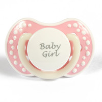 DDLG Adult baby pacifier. ABDL pacifier with the words baby girl. Glow in the dark adult dummy in baby pink and white - nuk 3