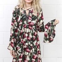 Fields of Fall Printed Dress w/ Bell Sleeves {Green Mix}