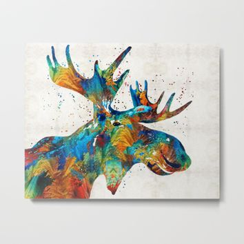 Colorful Moose Art - Confetti - By Sharon Cummings Metal Print by Sharon Cummings