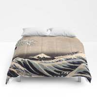 Hokusai the wave 1-hokusai,manga,fugi,japan,kanagawa,wave,edo,mount fuji Comforters by oldking