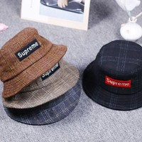 Retro Vintage Supreme Unisex Plaid Skateboard Hats Cap