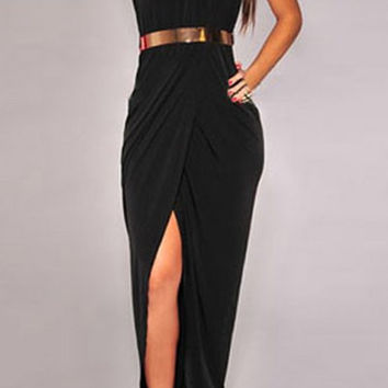 Black Halter Maxi Dress with Belt