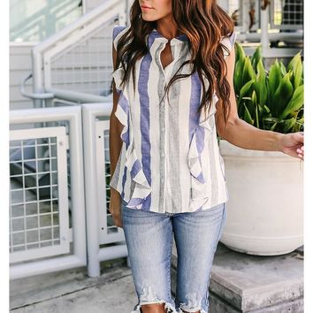 Ruffles O-Neck Buttons Striped Blouse