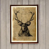 Deer poster Wild animal decor Dictionary page Stag print