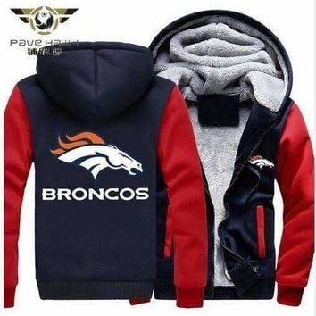 Foot Ball Team Denver Broncos Thicken Zipper Hoodie Man Women Jacket Clothing Casual Coat