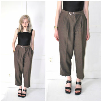 brown PLEATED trousers vintage 80s 90s high waist RELAXED fit BELTED trouser pants size 9 10