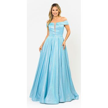 Blue Off-Shoulder Long Prom Dress Sheer Cut-Out Bodice