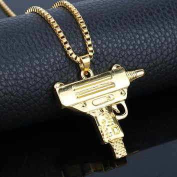 Hip Hop Jewlery Gun Pendants Necklace Snake link Chain Colar Men's Fashion Jewelry of Party Prom Bar Neck lace Collier