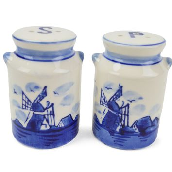 Delft Blue Collectible Salt and Pepper Set: Milk Cans