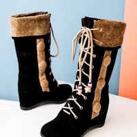 New Black Round Toe Flat Buttons Fashion Mid-Calf Boots