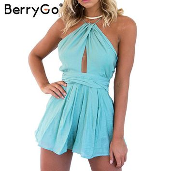 BerryGo Elegant hollow out rompers womens jumpsuit Sexy backless sashes  overalls Summer bluish green beach party playsuits