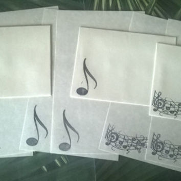Music Note stationery Set 1 5 10 parchment paper letter writing and envelope hand stamped musical song handmade cards adult coloring page