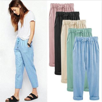 2017 summer cotton linen pants women plus size women pants casual brand trousers women big size pencil pants M - 4XL 5XL 6XL 7XL