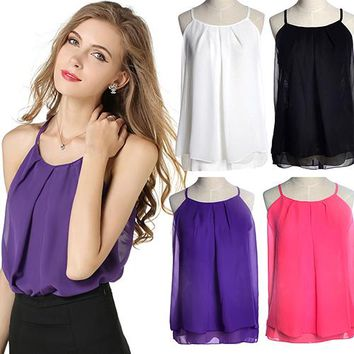 items! Women's Summer Strap Sleeveless Shirt Chiffon Loose Vest Tank Top Blouse T-Shirt