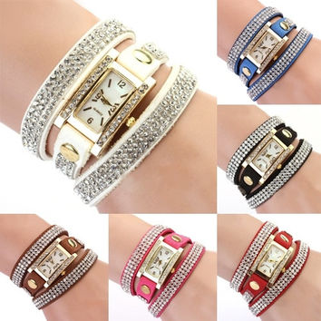 Girl's Square Dial Rhinestone Weave Wrap Multilayer Leather Bracelet Watch Deluxe = 1932650692