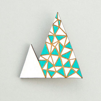 Geometric Mountain Triangle Brooch by Anita Ivancenko