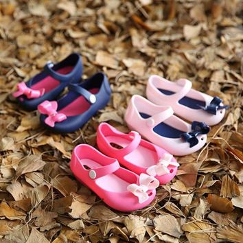 Cute Girls Baby Kids Detailed Jelly Bowknot fish mouth sandals boots Shoes