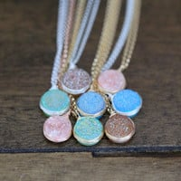 Druzy Bezel Pendant Necklaces - Pastel Edition
