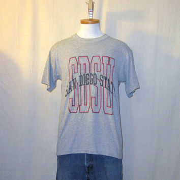 Vintage 80s SAN DIEGO STATE College University Graphic Sports Basketball Soft Grey Medium Cotton Blend T-Shirt