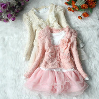 Children's Sets 2015 Girls 2pcs Clothing Set Pink Long Sleeve SweatShirt+Tutu Cake Dress Lace Chiffon Children Outfits.