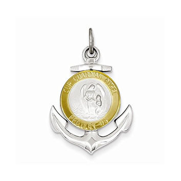 Sterling Silver & Gold Plated Guardian Angel Anchor Medal Pendant