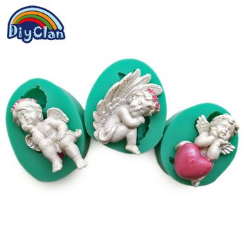 3 style DIY silicone fondant cake Cupid Little Angel molds cake decoration tools chocolate mold mini style candy clay mould