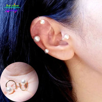 2016 New  Punk Chic Stunning Pearl Ear Cuff Copper Pearl Jewelry Fake Piercing Tragus Clip Earring For Women Ear Jacket Earing